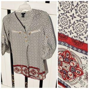 Rue 21 boho geometric blouse size extra small xs